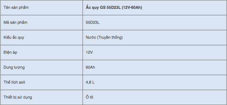 Ắc quy GS 55D23L